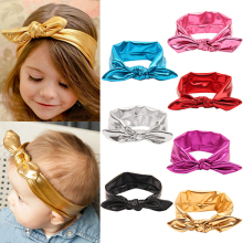 Hot High Recommend Baby Girl Kids Gilding Stretch Rabbit Ear Hair Bow Turban Knot Headband Hairband 5BYL 7FQG