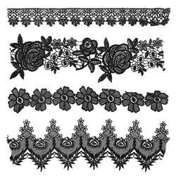 1 ярд черный искусственные листья розы узор вышивки кружева DIY Швейные Аппликация Свадебные Свадебное платье Костюмы украшения Аксессуары