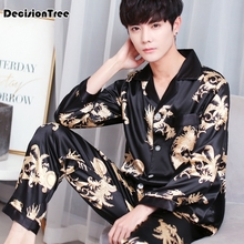 2019 satin silk pajamas for men sleepwear male pajama set soft nightgown pyjamas Soft Cozy Satin Nightgown