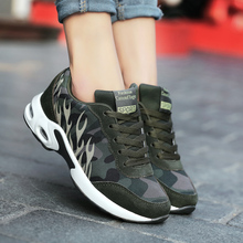 Fashion Women Camouflage Sneakers Lace Up Breathable Canvas Shoes
