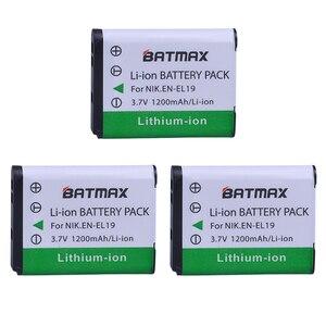 Image 2 - Batería EN EL19 EN EL19 + cargador LCD para Nikon Coolpix S32 S33 S100 S2500 S2750 S3100 S3200 S4200 S4400 S6400 S6500 S6600, 3 uds.