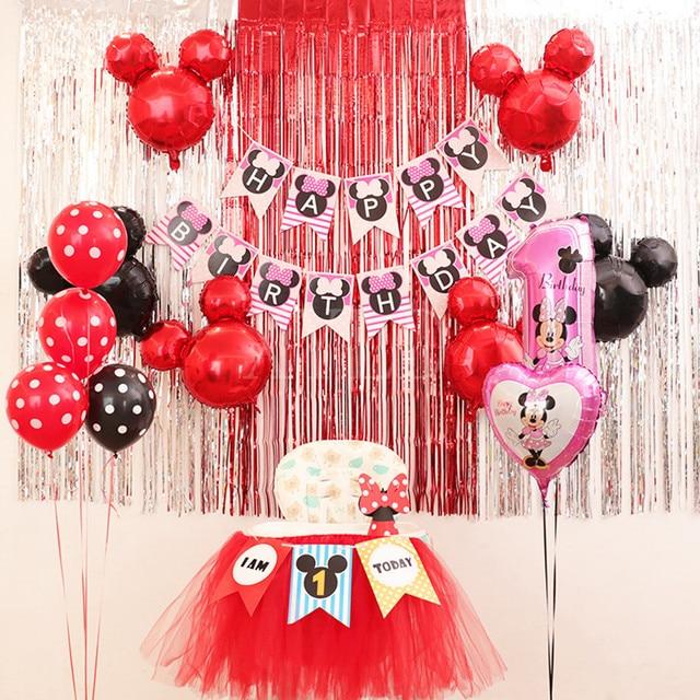19pcs Set Red Black Mickey Head Foil Latex Balloons Birthday Party Decorations Girls Theme