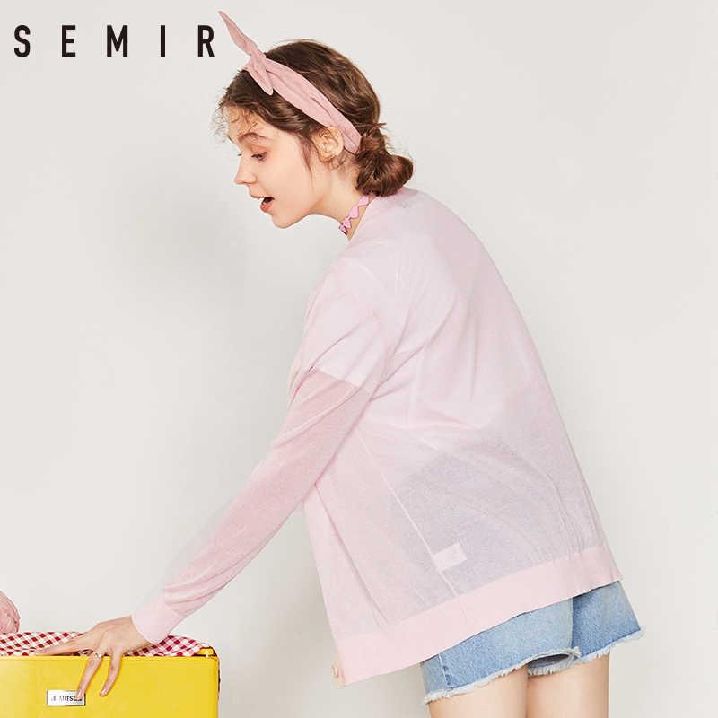 Suéter de SEMIR Cárdigan para mujer 2019 primavera y verano con cuello en V diseño fino suelto capa suéter ropa de abrigo para mujer