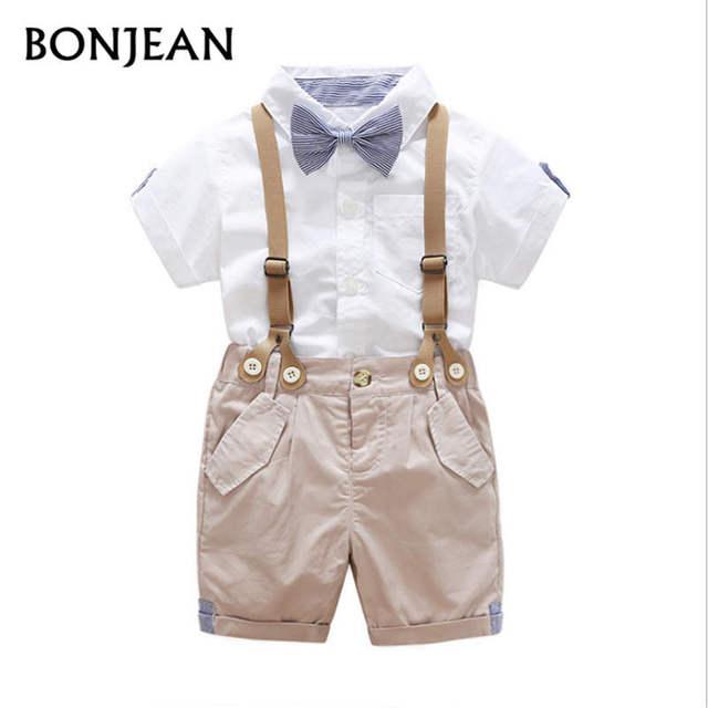 Roupa dos miúdos Meninos Conjuntos de Roupas de Bebê de Manga Curta Gravata  borboleta Camisa + b96541993fb