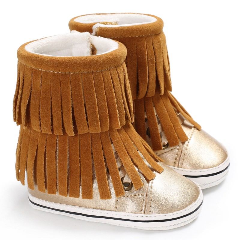 Winter Infant Baby Boots First Walkers Fringed Newborn Girls Boys Moccasin Super Warm Shoes Soft Soled Booties