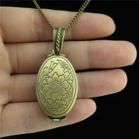 20278 Bronze Copper Folding Photo Cameo Base Fit 23x13mm Tray Setting Flower Locket Necklace 24 Jewelry