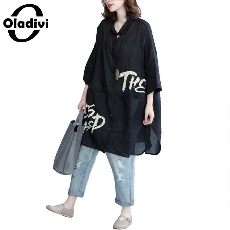 Oladivi grande taille femmes mode lettre imprimé Blouses dames OL chemises officielles été nouveau Top mince Cardigan femme tunique Blusas
