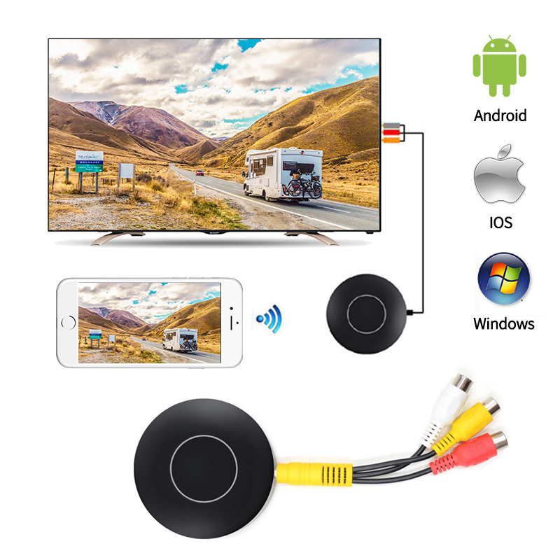 Q1 Wifi Screen Mirroring Push Display For Android Miracast Ios Airplay AnyCast Wireless HDMI AV RCA TV Dongle Mini Pc TV Stick