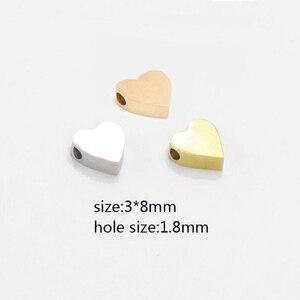 Image 1 - 20 adet/grup ayna cilalı küçük delik boncuk paslanmaz çelik Charm sevimli kalp şeklinde boncuk DIY aksesuarları