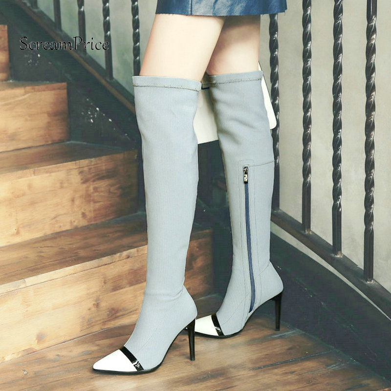 Woman Thin High Heel Zipper Genuine Leather Over The Knee Boots Pointed Toe Woman Stretch Boots Fashion Laides Thigh Boots Black