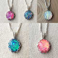 Nice Special Round Blue / Pink / White / Red Fire Opal Pendant Necklace