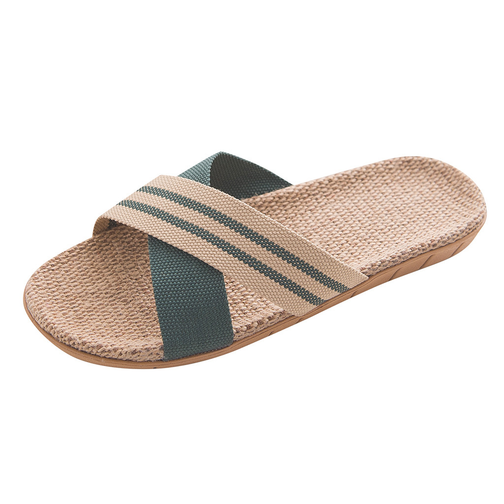 Обувь мужские Нескользящие льняные тапки для дома помещений с открытым носком на плоской подошве пляжные летние шлепанцы повседневные льняные шлепанцы zapatos de hombre