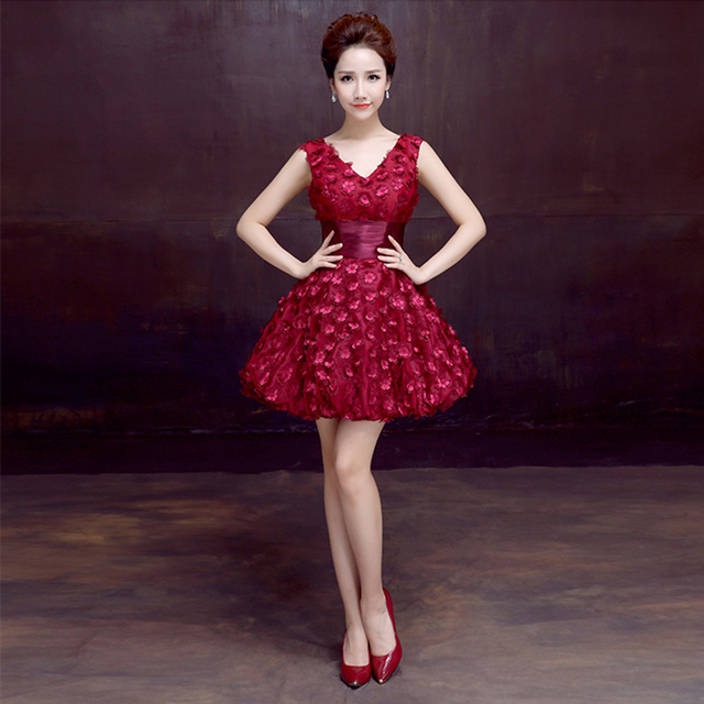 2017 V Neck Red Burgundy Short Dress For Wedding Y Party Prom Evening