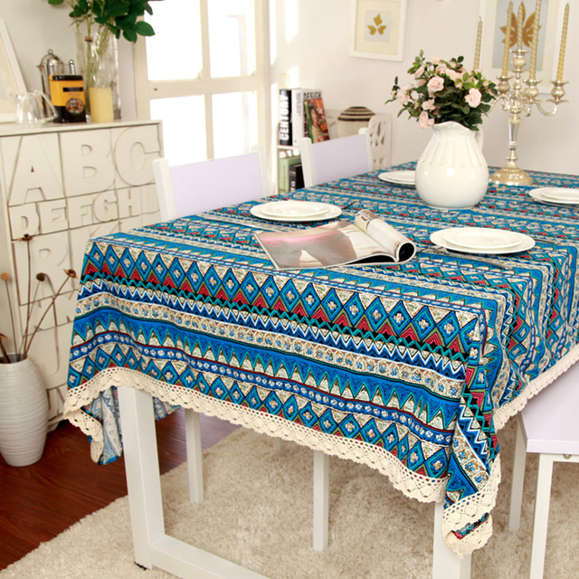 1Pcs Coffee Table Dining Table Lace Tablecloth National Style Bohemian  Tablecloth Stylish Simplicity