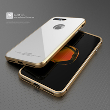 LUPHIE For Apple iPhone 7 Case Luxury Fashionable Hard Aluminum Frame Glass Back Cover Phone Case for iPhone 7 Plus Case Cover