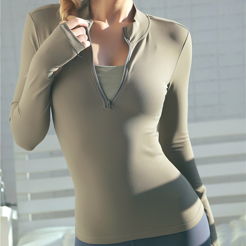 Long Sleeve Sports Top with Zipper for Women Womens Clothing Tops & T-shirts