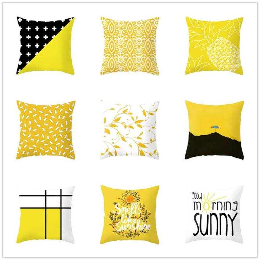 Pineapple Leaf Yellow Throw Pillow Case Super soft fabric Decorative Pillows For Sofa Seat Cushion Cover 45x45cm Home Decor