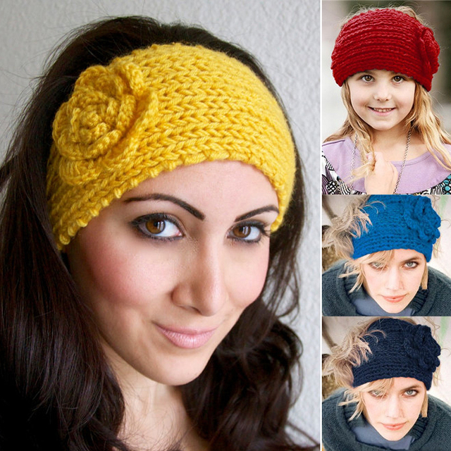 New Boho Hair Accessories Women Headbands Crochet Flowers Headband Winter  Knitted Turbans Female Elastic Bandanas 24 Colors XM cb0e205b86e