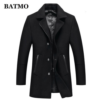 BATMO 2019 new arrival autumn high quality wool grey casual trench coat men,mne's winter black jackets,plus-size M-XXXL