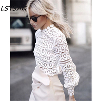 LSYSAG Women White Blouse Stereo Flower Hollow Out Top Lace Retro Shirts 2018 Fashion Elegant Office Lady Clothing Bishop Sleeve