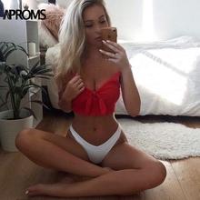 Aproms Ribbed Bow Tie Camisole Tank Tops Women Summer Basic Crop Top Streetwear Fashion 2018 Cool Girls Cropped Tees Camis