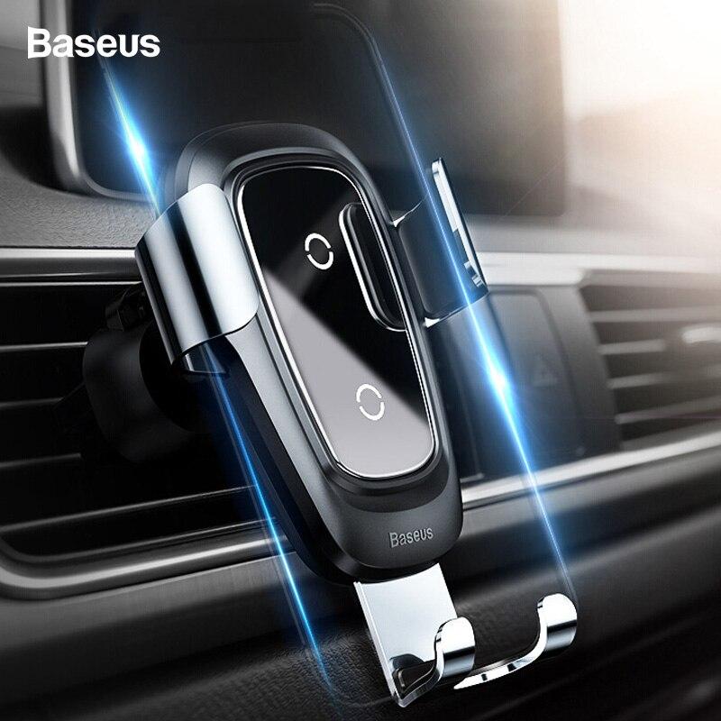 Baseus Qi inalámbrico cargador de coche para iPhone Xs Max X 10 w coche inalámbrico soporte de carga para Xiaomi mi 9 mi x 3 2 s Samsung S10 S9