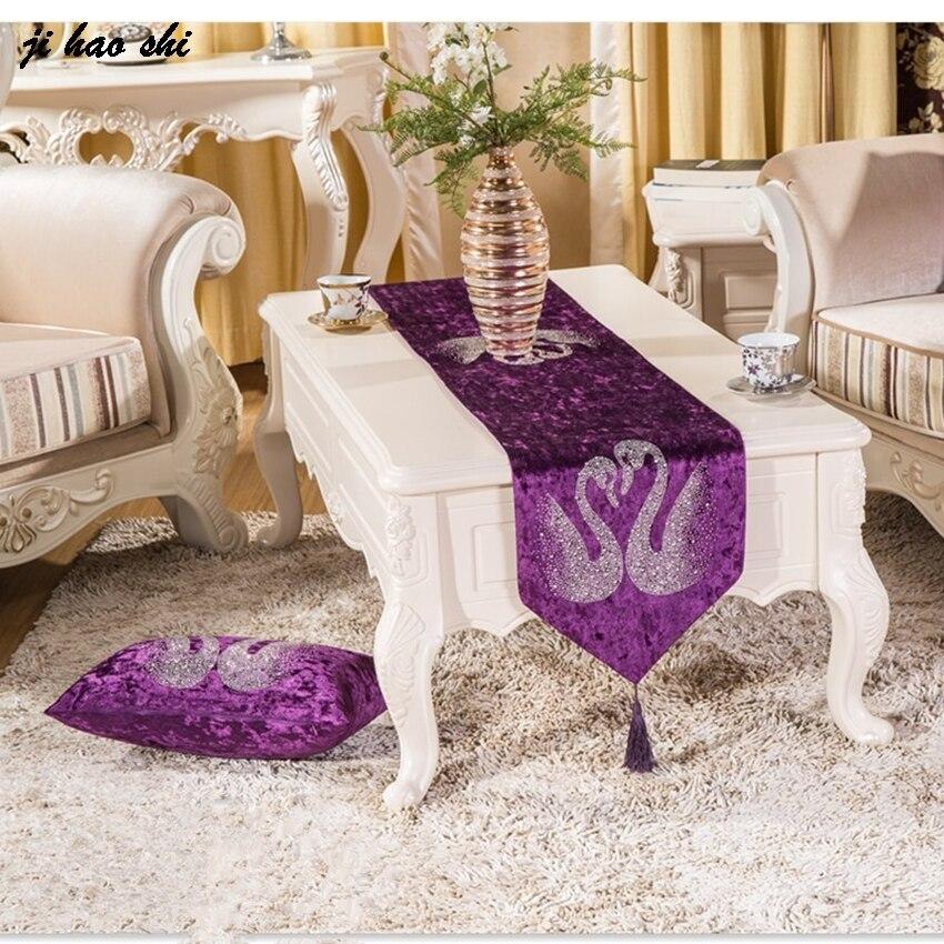 European Style Luxury Velvet Diamond Swan Pattern Table