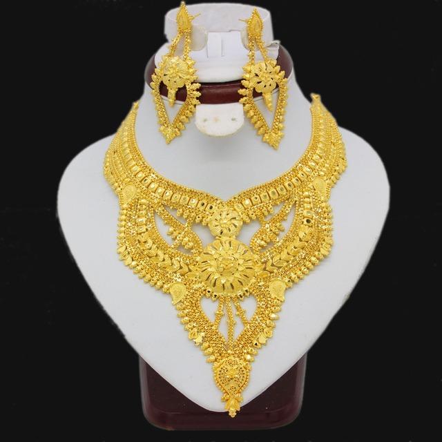 Adixyn Luxury Dubai Necklace Earrings Jewelry Set For Women Girls Gold Color Elegant Arab/Ethiopian Wedding/Party Gifts