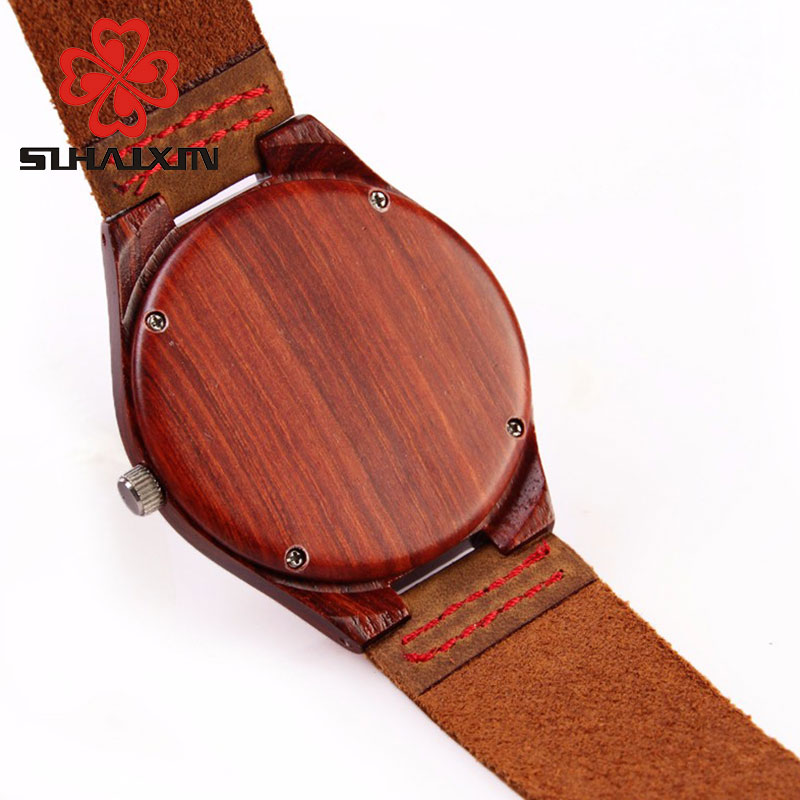 Wood Watch Billige menns Wooden Watch Red ekte Cowhide Leather Band - Herreklokker - Bilde 4