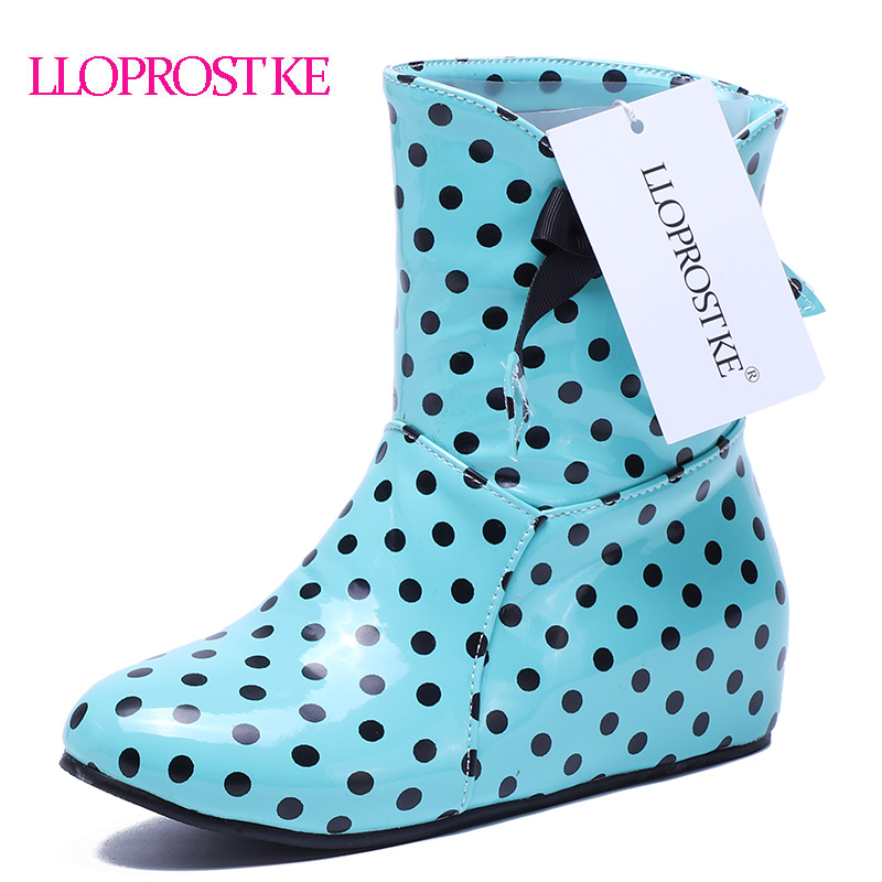 LLoprost KE Fashion Wellies Women Polka Dot short Rain Boots inside-heel Hidden Wedges Bow waterproof Ankle Boots big size S308 wellies polka dot breathable belt single shoes wading mid calf fashion gum canister rain womens boots women colorful antiskid