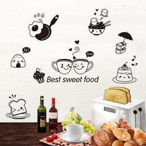 40*20cm Black Kitchen Wall Stickers Best Sweet Food DIY Wall Art Decoration Oven Dining Hall Wallpapers PVC Wall Decals(China)