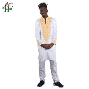 Image 5 - H & D 2020 męskie ubrania ubranie afrykańskie dla mężczyzn i kobiet ubrania dla par biały bazin dashiki haft kid boy ubrania rodzinne dla mamy i córki 3033