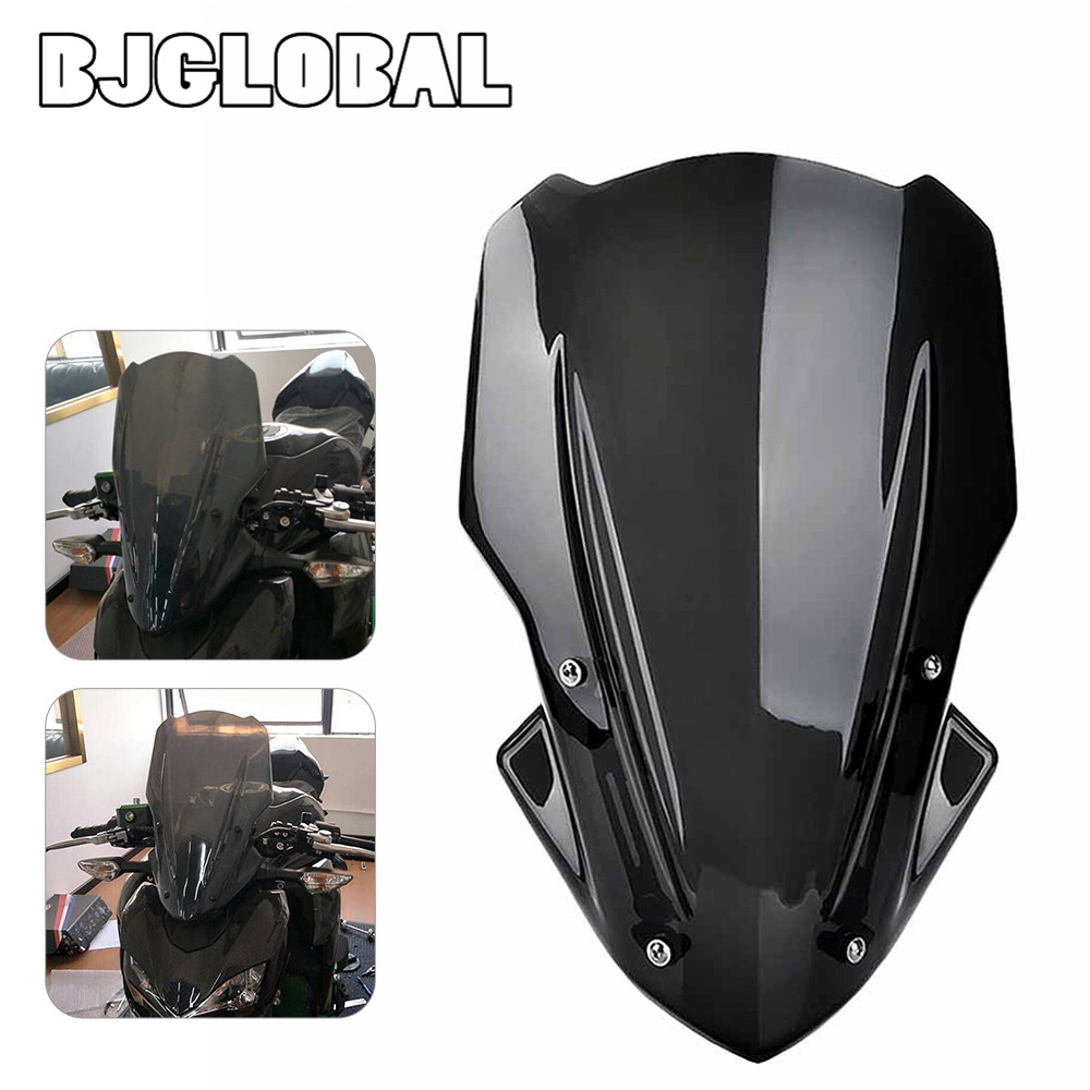 BJGLOBAL Front Motorcycle Windshield WindScreen Screen W/ Bracket For Kawasaki Z900 2017
