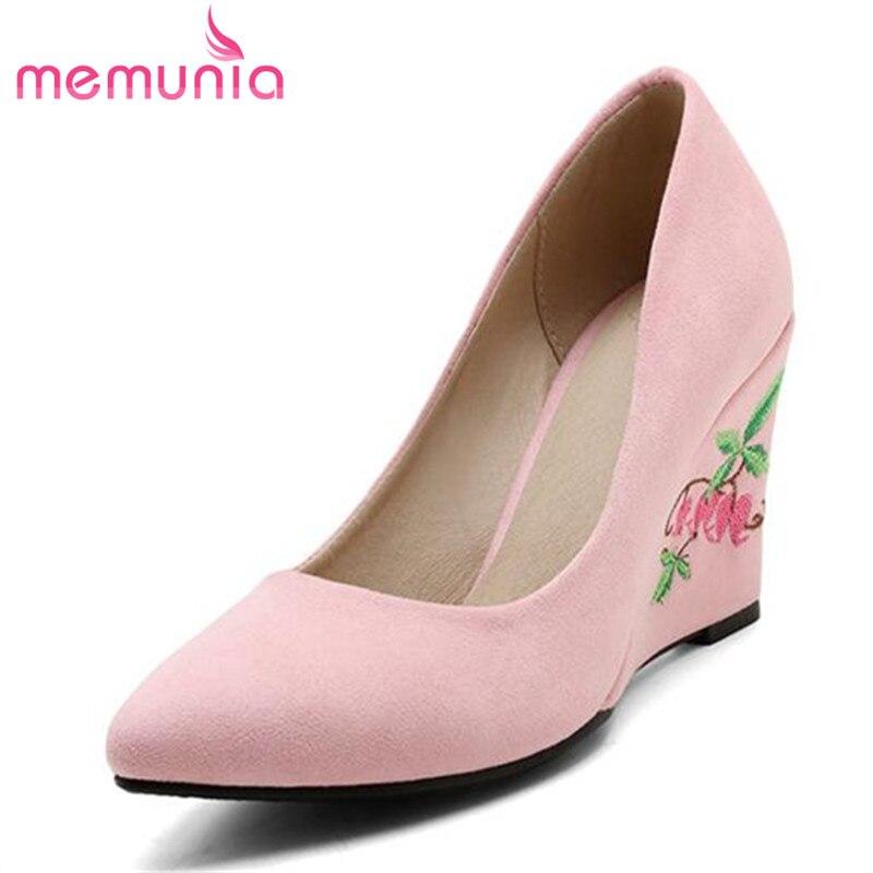 MEMUNIA China's style wedding shoes shallow single beautiful women pumps big size 34-48 wedges shoes flock nubuck leather цена 2017