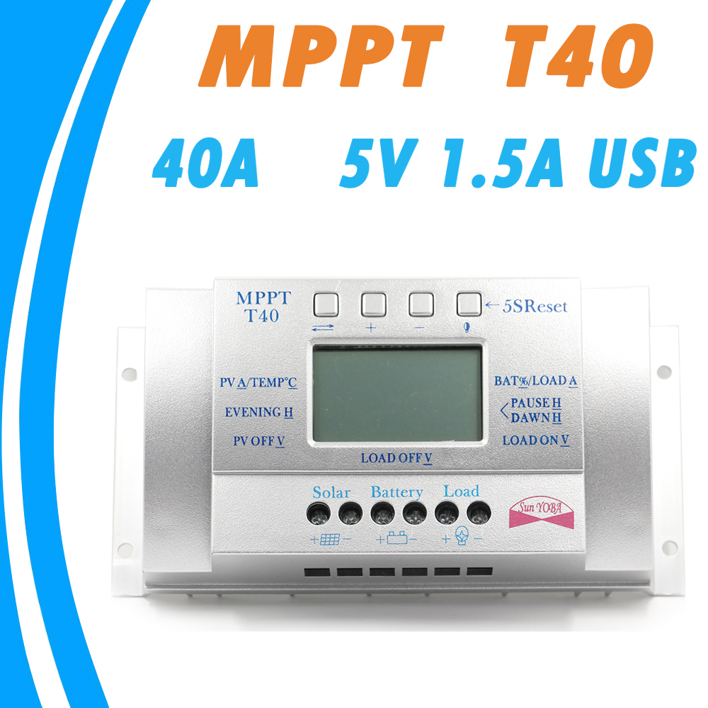 40A <font><b>Solar</b></font> Charge Controllers 12V 24V Auto with 5V 1.5A USB Output Load Light and Timer Control <font><b>Solar</b></font> <font><b>Panel</b></font> Regulator LCD 40A