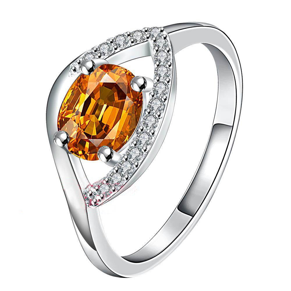 d417e1896b2c USTAR lujo cristal amarillo boda anillos para las mujeres ZIRCON joyería plata  color anillo Anel aneis anillos bague femme