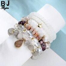 Bojiu Charm Bracelet White Tibetan River Stone Bead Long Crystal Roll Matte Grey with Champagne Druzy Pear Pendant Women BCSET38