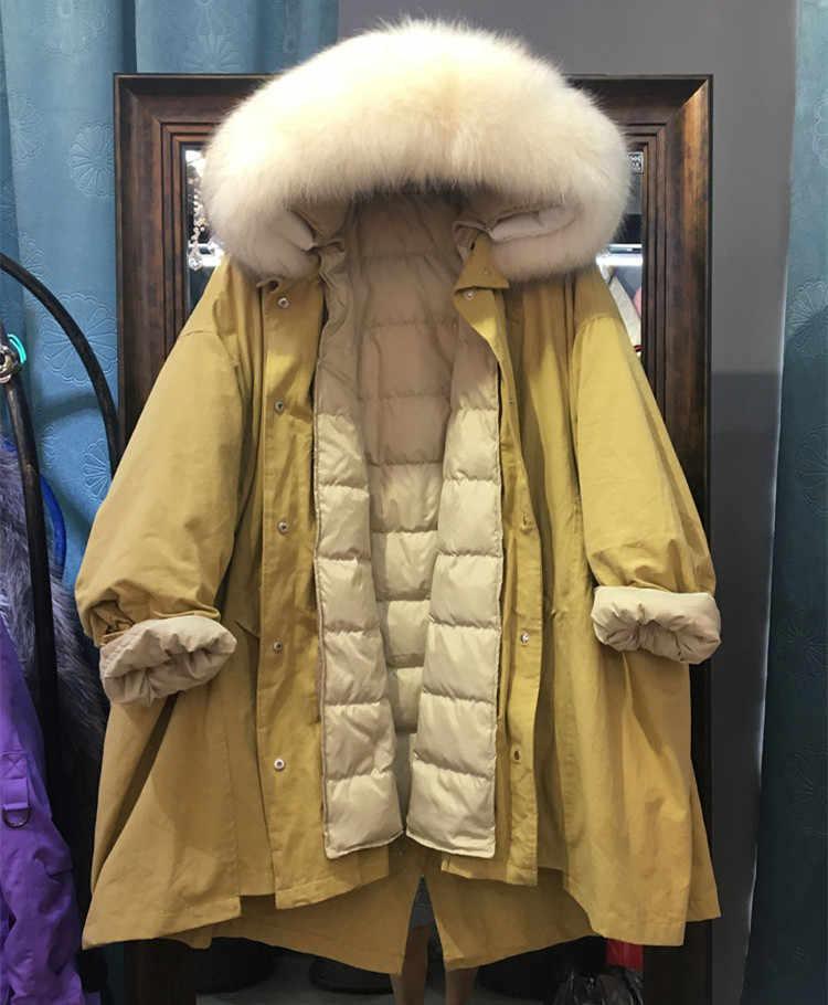 7a4f3066209c7 Oversized fur collar down parka women winter coat detachable liner long  thick loose duck down jacket