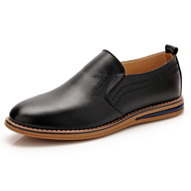 Men Leather Slip On Business Casual Oxford Shoes
