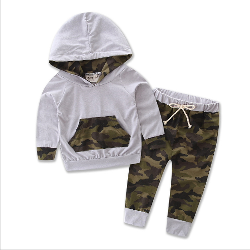 Camouflage Baby Boy Clothes Sets Autumn 2018 New T-shirt Pants 2Pcs Kids Sets for Boy Cotton Boys Suits Children Clothing 3cs094 baby boy clothes 2017 brand summer kids clothes sets t shirt pants suit clothing set star printed clothes newborn sport suits