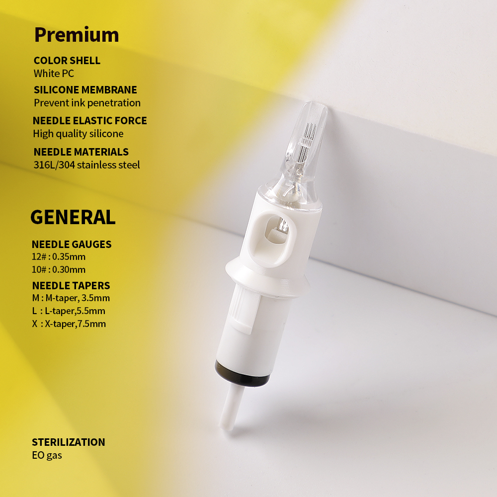 Qink RS Revolution Tattoo Needles White Cartridge Supply Round Shader 12 0 35mm Needles 3 5 7 9 11 13 15RS 20pcs in Tattoo Needles from Beauty Health