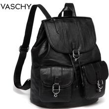 VASCHY Fashion Backpack Purse for Women Chic Drawstring School Bags with Two Front Pockets Soft Leather College