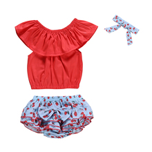 купить 3Pcs Toddler Kids Baby Girls Sleeveless Ruffle Solid Tops Cherry Print Skirts Pants Headband Outfit Summer Clothes Set 2019 по цене 687.13 рублей