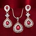 Elegant ruby crystal necklace luxury cutout rose gold stud earring set female tz62