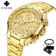 цена WWOOR Brand Luxury Big Dial Men Watch Military Quartz Watch Stainless Steel Casual Sport Business Gold Wristwatch Men's Clock онлайн в 2017 году