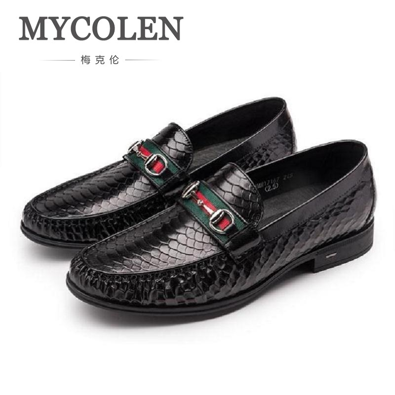 MYCOLEN Spring Summer New Crocodile Fashion Mens Loafer Fashion Slip On Leather Casual Shoes Men Business Leisure Party Shoes new 2017 men s genuine leather casual shoes korean fashion style breathable male shoes men spring autumn slip on low top loafers