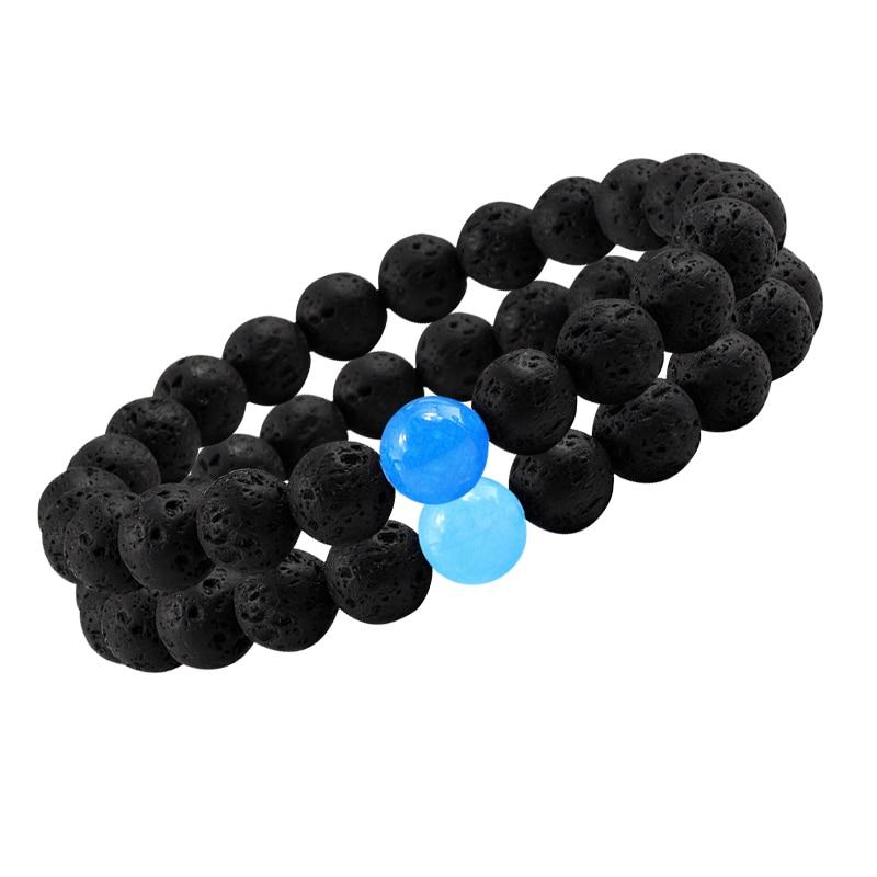 New 8mm Chalcedony Yoga Charm Strand Bracelet Men Black Lava Rock Volcanic Energy Stone Beads Buddha Bracelets For Women Jewelry