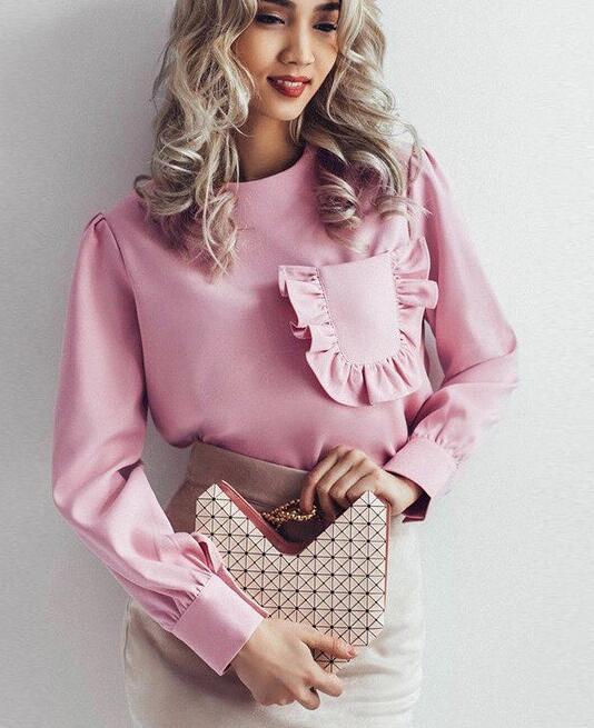 Ocio Redondo Blusa Pure Cuello De Gasa Azul Calidad La Manga rosado Color Envío Larga Volantes Cielo Alta Mujer Bolsillo Decorado 7wpInAnx