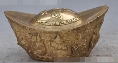 94c10d5bdfac S01063 chino fengshui bronce dragón 5 fortuna RD oro de la riqueza Dios  estatua yuanbao B0403