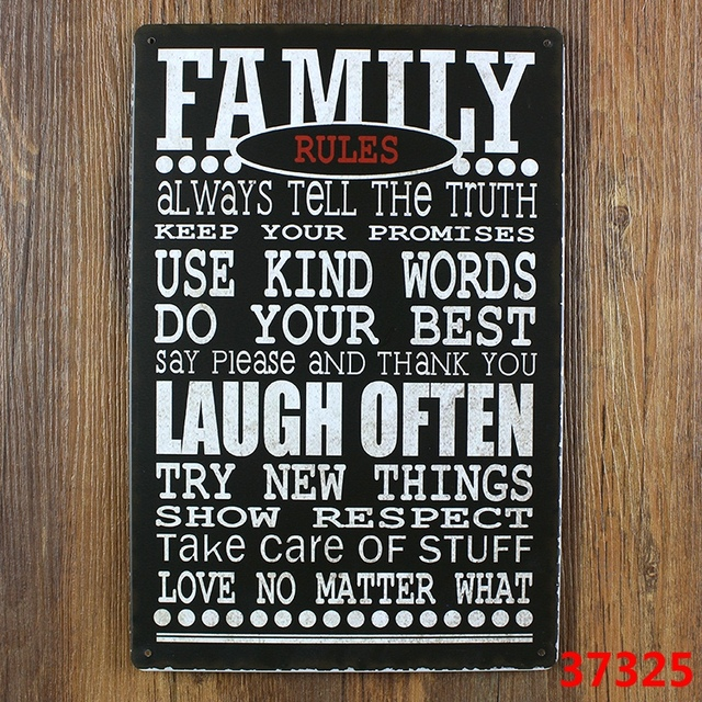 Well known FAMILY RULES Retro Metal Tin Sign decor Home Bar Party Wall Funny  MM57